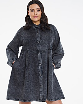 Black Acid Wash Denim Smock Shirt Dress