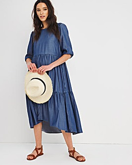 Dark Blue Tencel Midi Smock Dress