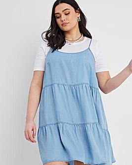 Light Blue Soft Lyocell Denim Strappy Tiered Smock Dress