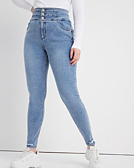 Shape & Sculpt Bleachwash Extra High Waist Ripped Hem Skinny Jeans
