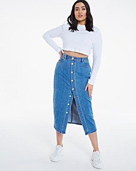 Stonewash Button Front Midi Denim Skirt
