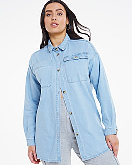 Mid Blue Oversized Denim Shacket