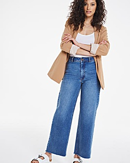 Light Stonewash Crop Wide Leg Jeans
