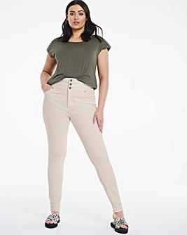 Shape & Sculpt Ecru Extra High Waist Skinny Jeans
