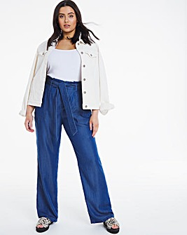 Mid Blue Belted Soft Tencel Denim Wide Leg Trousers