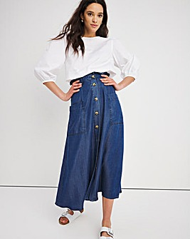 Dark Blue Soft Tencel Denim Paperbag Midaxi Skirt