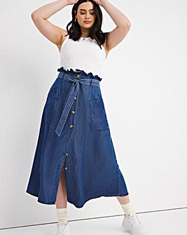 Dark Blue Tencel Paperbag Midaxi Skirt