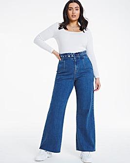 Joss Vintage Blue Stud Waist Wide Leg Jeans