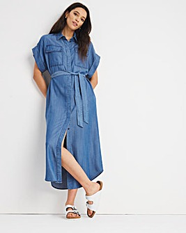 Mid Blue Soft Lyocell Denim Maxi Shirt Dress