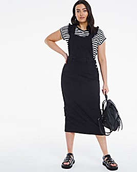 Washed Black Frill Strap Maxi Dungaree Dress