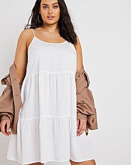 White Soft Lyocell Denim Strappy Tiered Smock Dress
