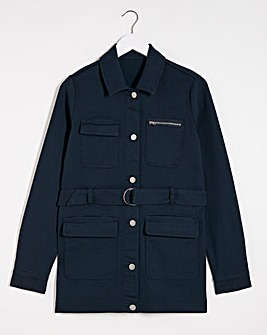 Navy Belted Utility Denim Jacket