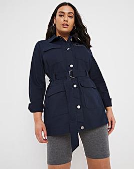 Navy Belted Utility Denim Jacket