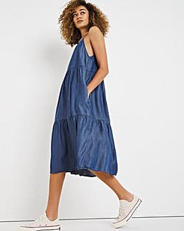 Dark Blue Soft Lyocell Denim Strappy Midi Smock Dress