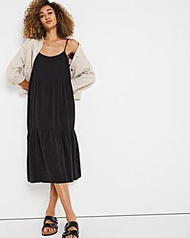 Black Soft Lyocell Denim Strappy Midi Smock Dress