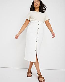 Off-White Button Front Midi Denim Skirt