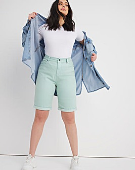 24/7 Sage Knee Length Denim Shorts made with Organic Cotton
