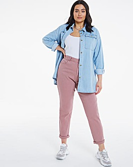 Demi Dusky Pink High Waist Mom Jeans