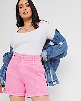Pink High Waist Detail Denim Shorts