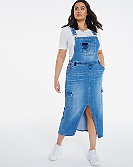 Mid Blue Utility Midaxi Dungaree Dress