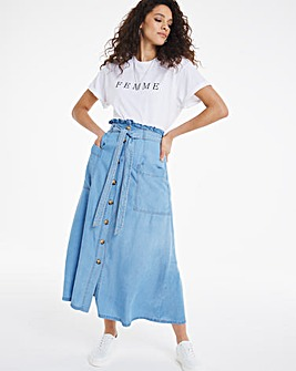 Bleachwash Soft Tencel Denim Paperbag Skirt