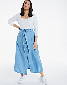 Bleachwash Tencel Paperbag Skirt