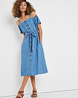Light Blue Soft Lyocell Denim Bardot Midi Dress