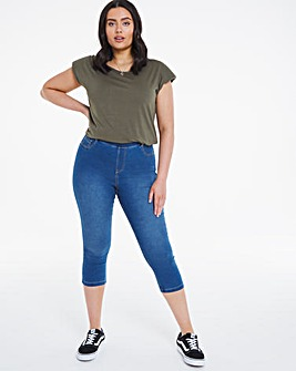 Amber Mid Blue Pull On Crop Jeggings