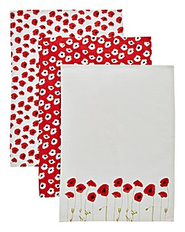 Poppies Set of 3 Cotton Tea Towels