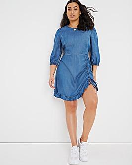 Mid Blue Soft Lyocell Denim Mini Dress