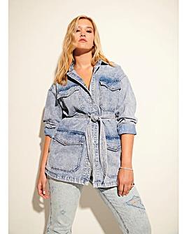 Acid Blue Oversized Belted Safari Denim Jacket