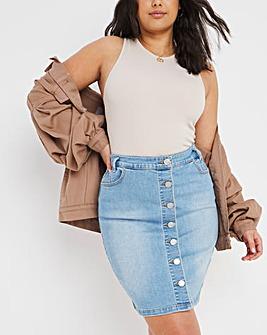 Stonewash Button Front Mini Skirt