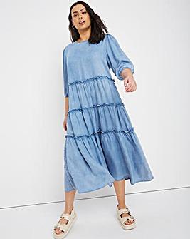 Light Blue Soft Lyocell Denim Tiered Midi Smock Dress