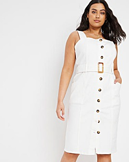 Ecru Button Front Belted Denim Dress