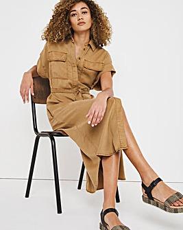 Camel Soft Lyocell Denim Maxi Shirt Dress