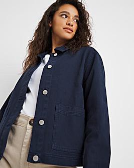Navy Patch Pocket Denim Jacket