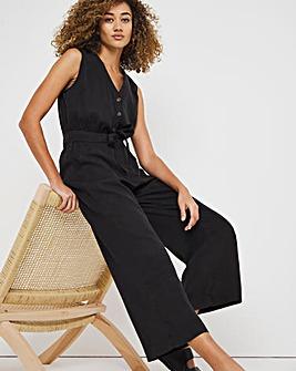 Washed Black Soft Lyocell Denim Sleeveless Belted Culotte Jumpsuit