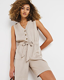 Stone Lyocell Sleeveless Belted Playsuit