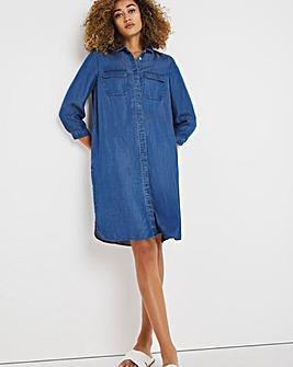 Mid Blue Soft Lyocell Denim Shirt Dress