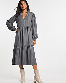 Light Grey Soft Lyocell Midi Smock Dress