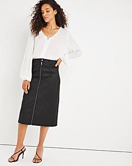 Black Zip Coated Midi Skirt