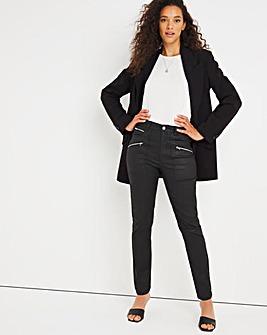 Black Coated Biker Slim Leg Jeans