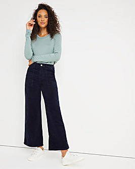 Navy Cord Crop Wide Leg Jeans