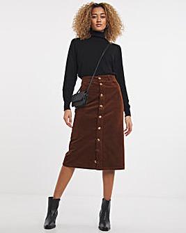 Tan Cord Button Front Midi Skirt
