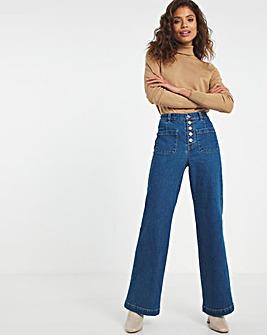 Dark Blue Patch Pocket Wide Leg Jeans