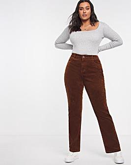 Tan Cord Straight Leg Jeans