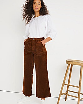 Tan Cord Crop Wide Leg Jeans