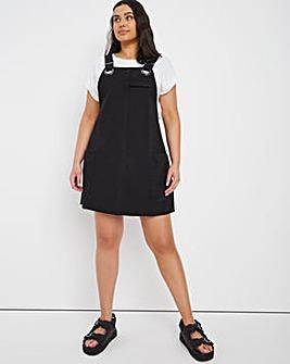 Washed Black Slouchy Denim Pinafore Dress