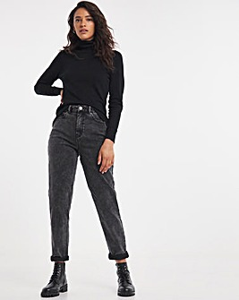 Demi Dark Grey High Waist Mom Jeans
