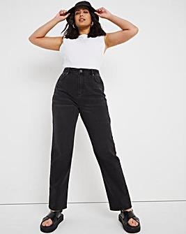 Esme Washed Black High Waist Straight Leg Jeans